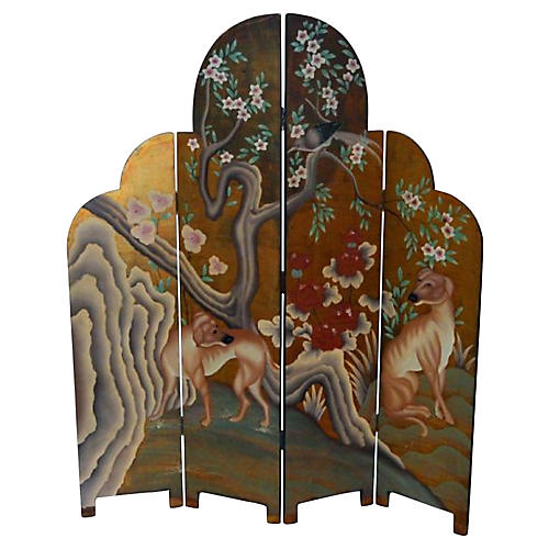 Four-Panel Dog and Floral Motif Screen