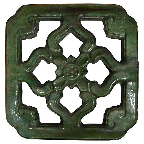 Antique Green Glaze Garden Temple Tile