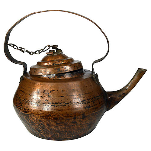 Antique Indian Hand-Hammered Teapot
