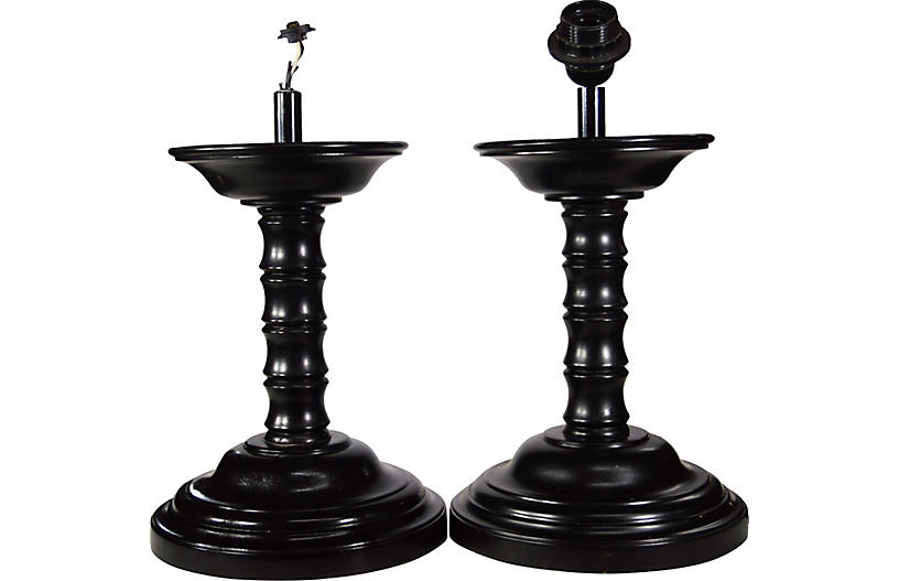 Pair of Vintage Wooden Asian Lamps
