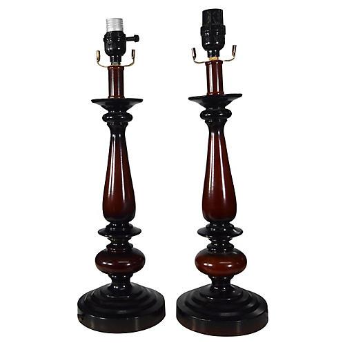 Set 2 Vintage Asian Lamps