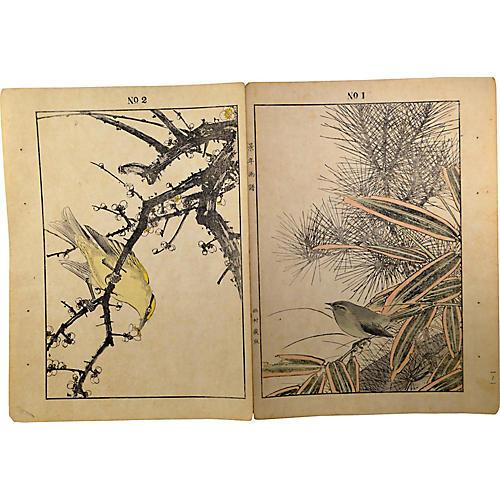 Antique Japanese Lithograph Prints, Pair