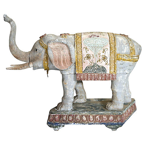 Antique Hand-Carved Wooden Elephant