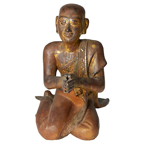 Hand-Carved Thai Monk Statue