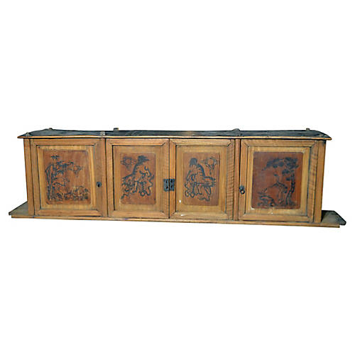 Low Antique Chinese Painted TV Cabinet