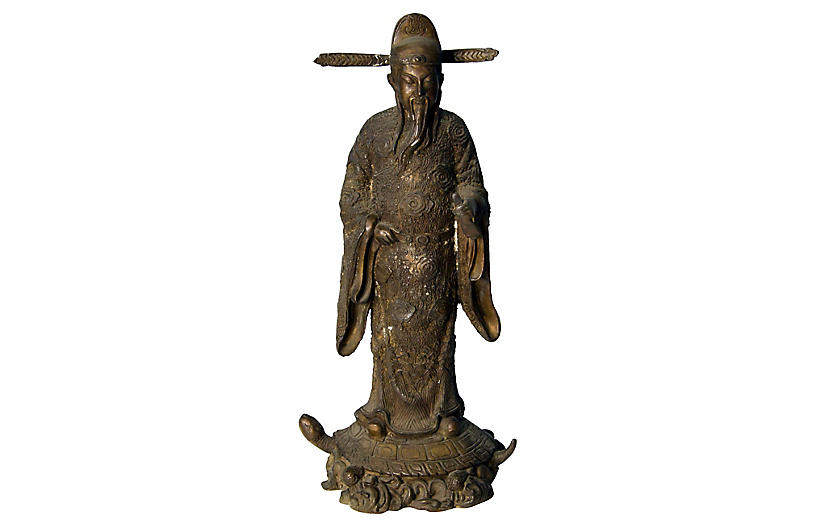 Antique Chinese Bronze Scholar Statue