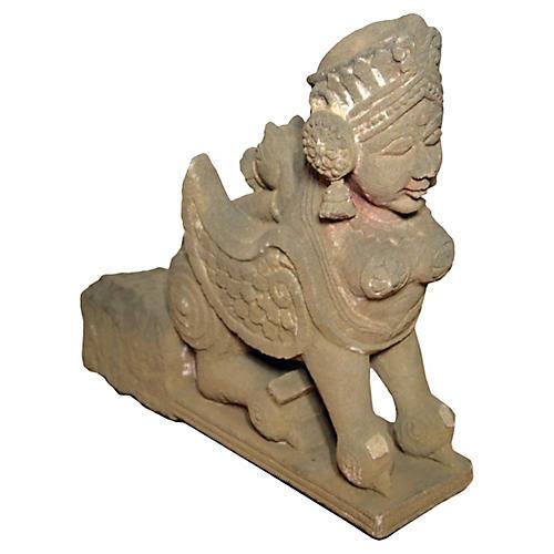 Hand-Carved Thai Stone Sphinx Gargoyle