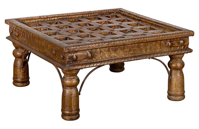 Indian Geometric Wood & Brass Table
