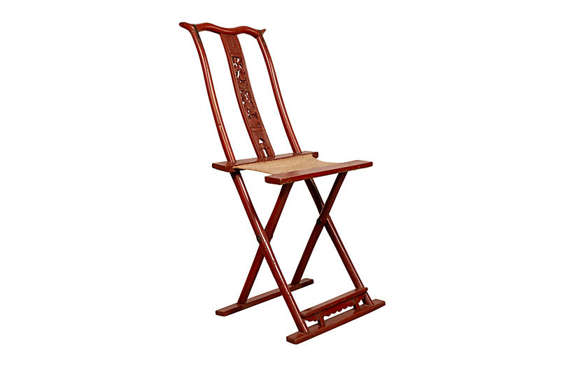 Chinese Red Lacquered Folding Chair