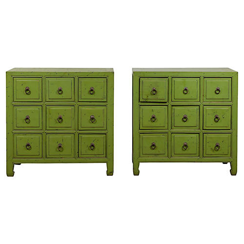 Pair of Chinese Green Apothecary Chests