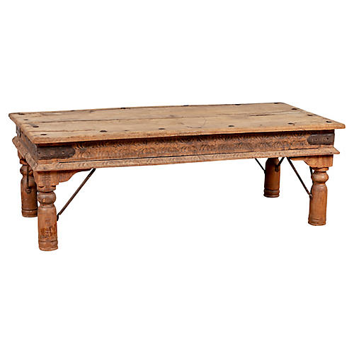 Rustic Indian Low Carved Coffee Table