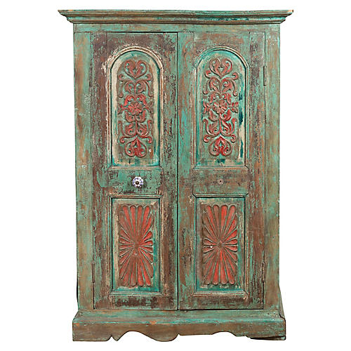 Indian Distressed Green Painted Cabinet