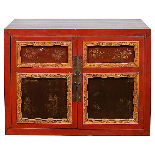 Chinese Small Red Lacquered Cabinet