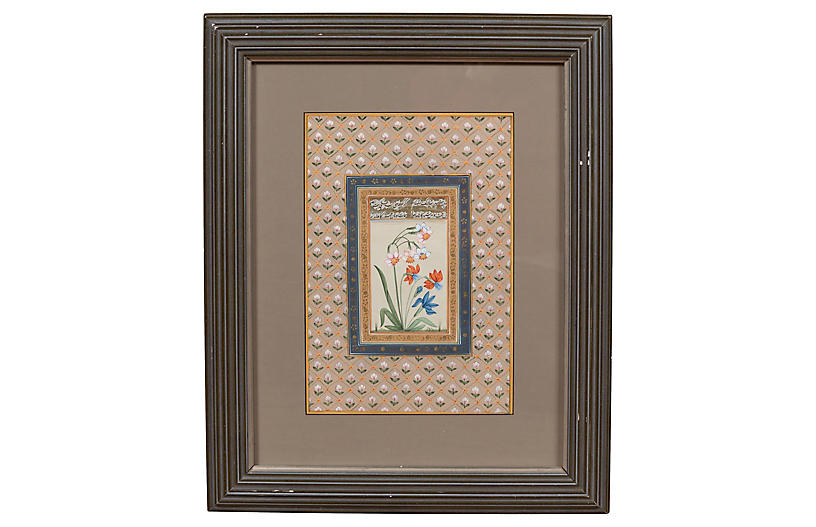 Indian Floral & Calligraphy Still Life