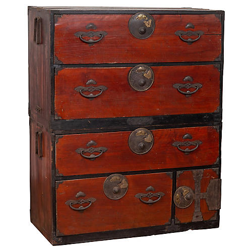 Japanese Meiji Two-Part Red Tansu Chest