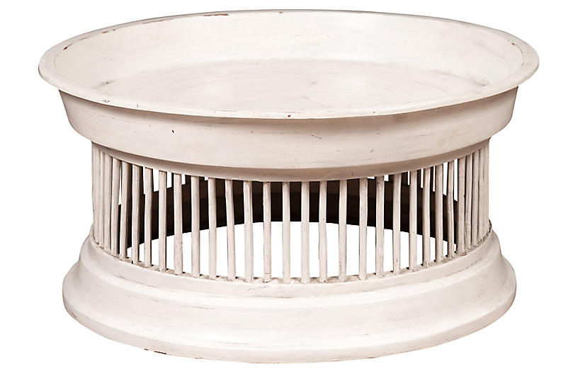 Thai Off-White Rattan Drum