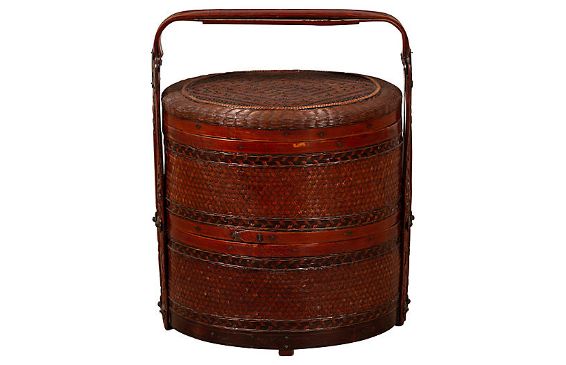 Chinese Rattan Two-Tiered Nested Basket