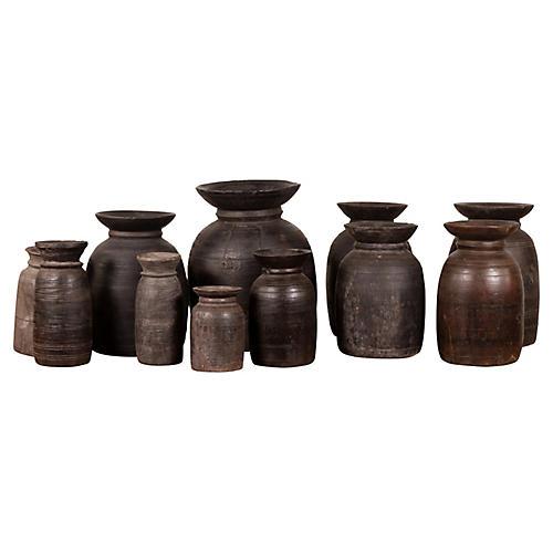 Primitive Nepalese Rustic Wood Ghee Pots