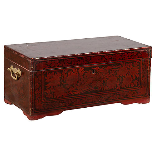 Lacquered Burgundy Sumatra Leather Chest
