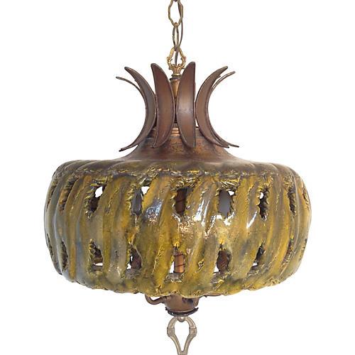 1960s Ceramic Drip Glaze Chandelier