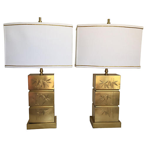 Brass Bamboo Lamps w/ Shades, Pair