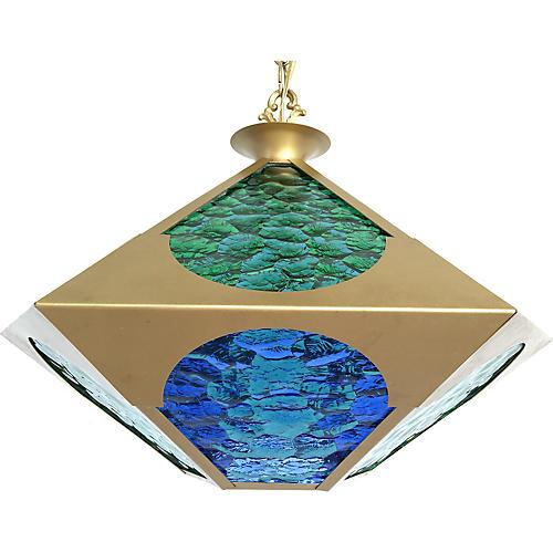 Midcentury Glass & Brass Pendant