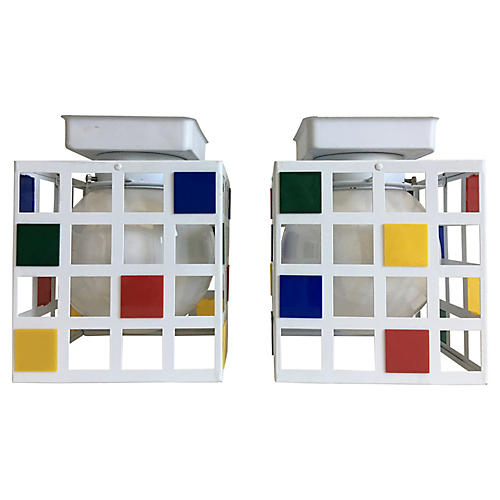 Mondrian-Style Ceiling Lights, Pair