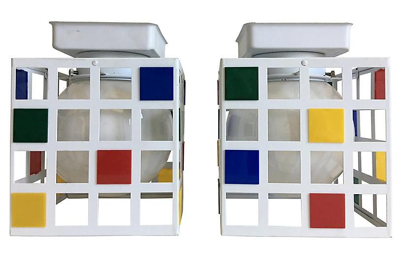 Mondrian-Style Ceiling Lights, Pair