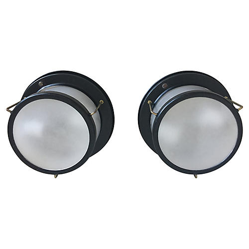 Porthole Ceiling Lights, Pair