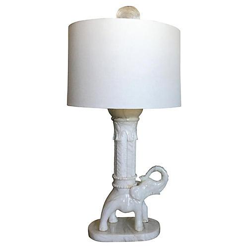 Oversize Marble Elephant Lamp