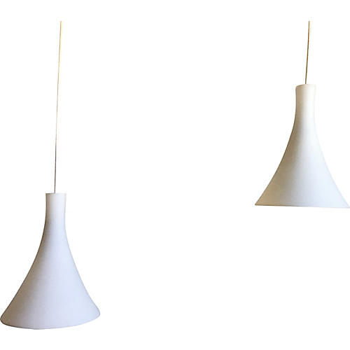 Cased Glass Pendant Lights, Pair