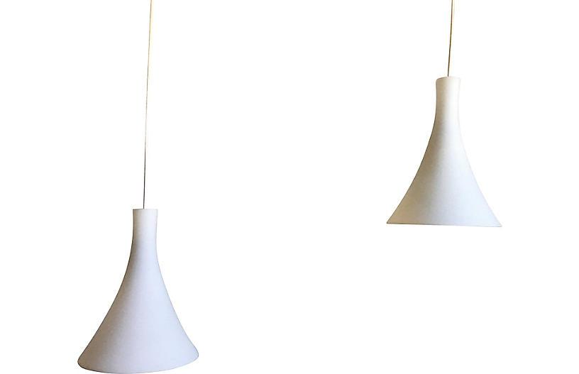 Cased Glass Pendant Lights, Pair