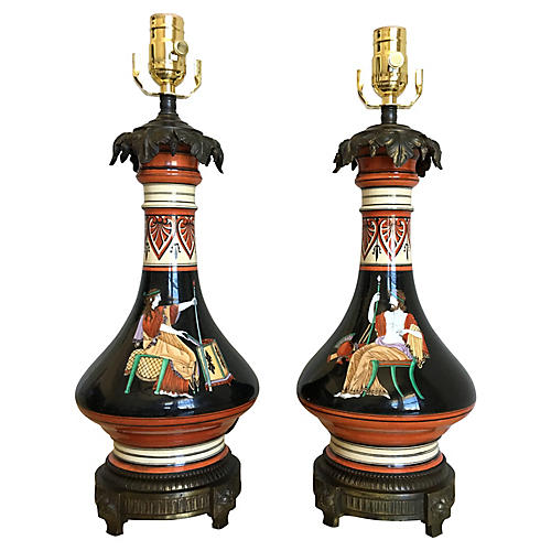 French Art Deco Lamps, Pair
