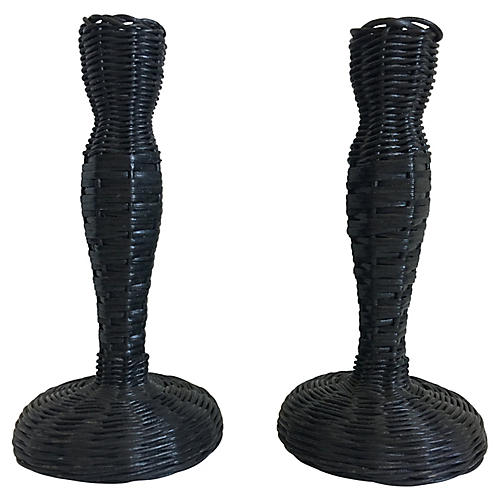 Black Wicker Candlesticks, Pair