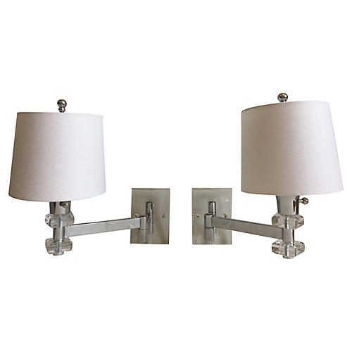 Lucite Swing-Arm Sconces, Pair