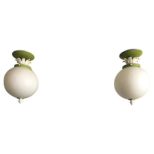 Glass Globe Flush Lights, Pair