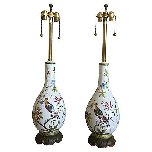 Oversize Italian Bird Lamps, Pair