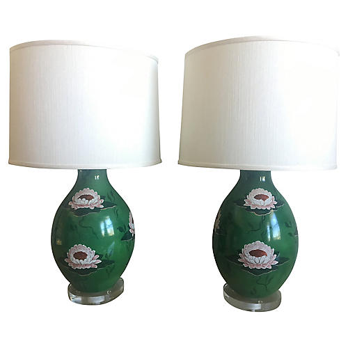 Italian Water Lily Lamps, Pair