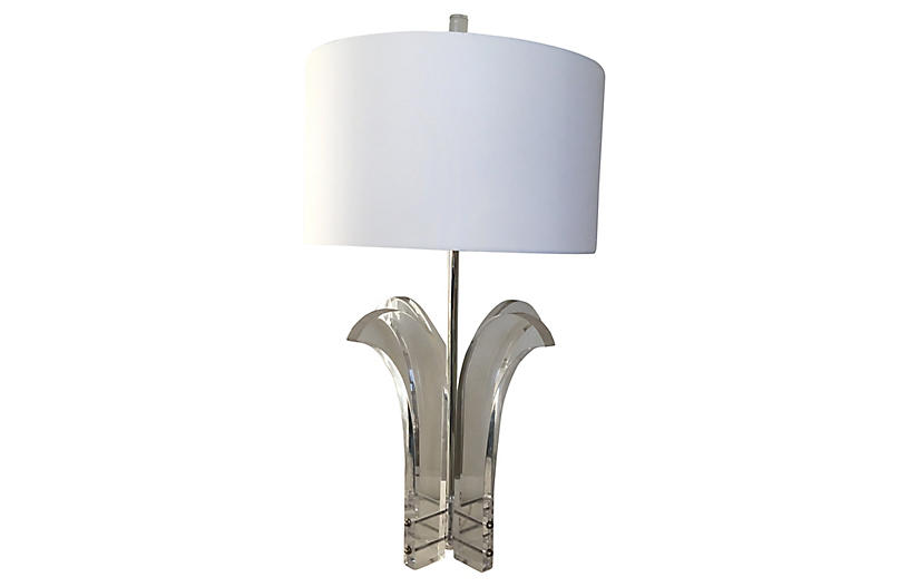 Lucite Palm Lamp & Shade