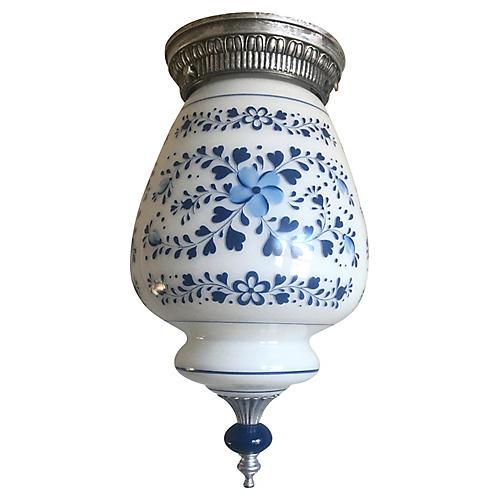 Midcentury Floral Milk Glass Flush Light