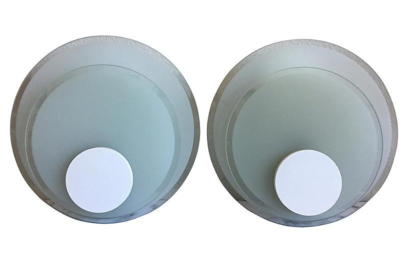 Lightolier Circle Sconces, Pair