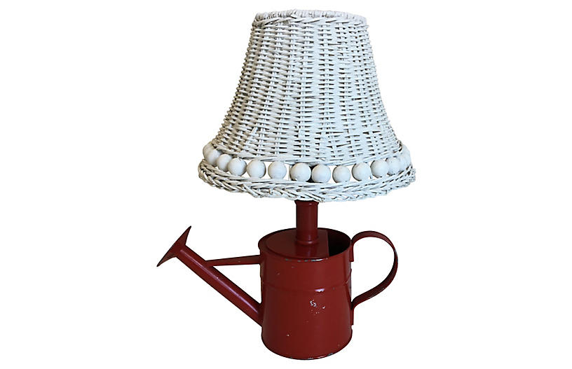 Watering Can Lamp & Wicker Shade
