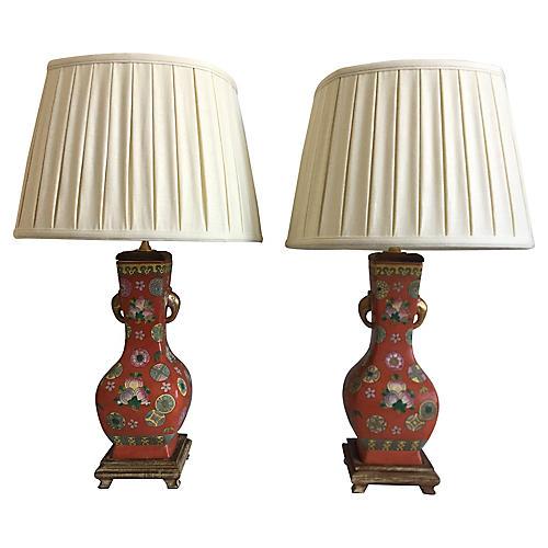 Mandarin Porcelain Lamps & Shades, Pair
