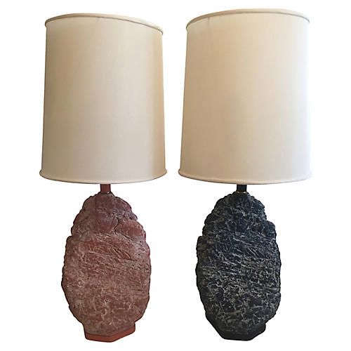Faux-Stone Table Lamps, S/2