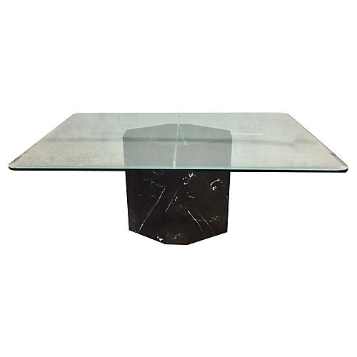 Marble Lucite Glass Dining Table