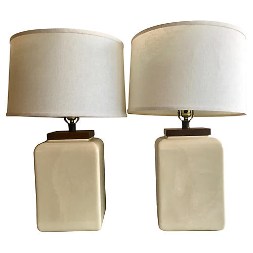 Ceramic & Wood Table Lamps, S/2
