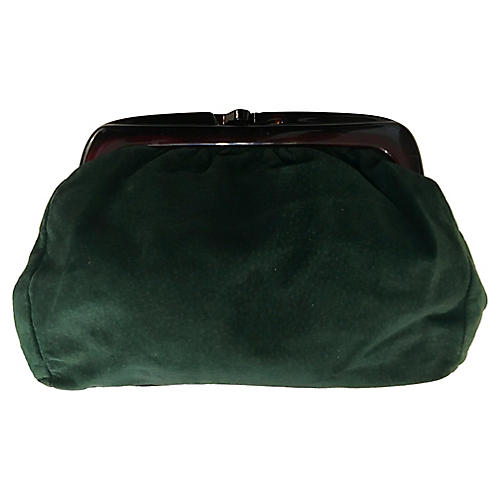 Italian Green Leather Clutch