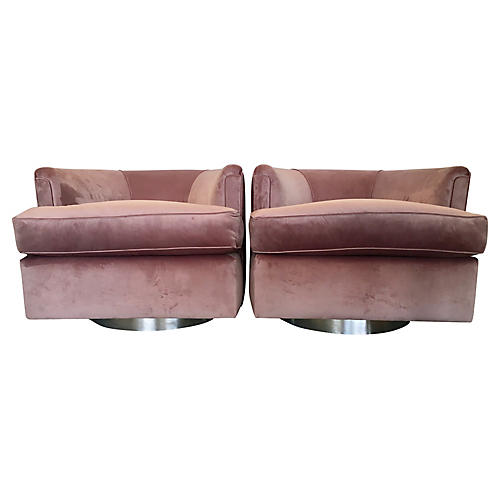 Low-Profile Swivel Chairs, Pair