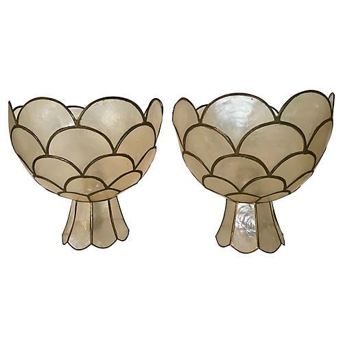 Capiz Shell Table Lamps, Pair