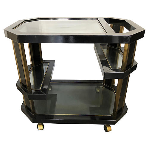 Octagonal Brass & Black Metal Bar Cart